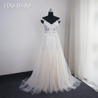 Off Shoulder Strap Wedding Dress A Line Boho Chic Lace Appliqued Beaded Bridal Gown