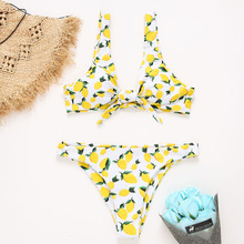 2fcc85974307d Front Knotted Bikini Lemon Women Swimsuit Push Up Swimwear Spaghetti Straps Bathing  Suit Padded Thong Bottom