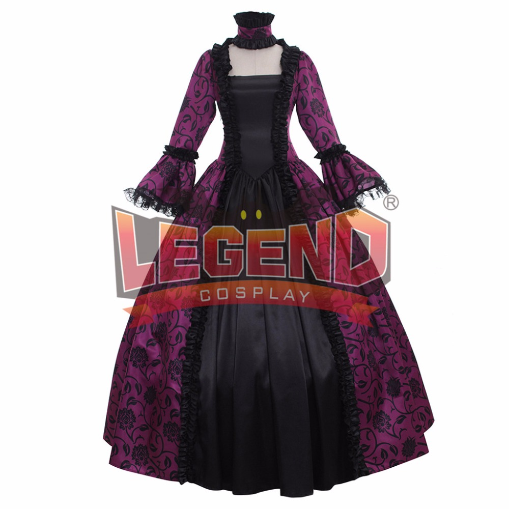 Renaissance Medieval Carnivale Gown Gothic Victorian Masquerade Long Dress Rococo purple dress