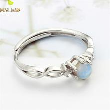 Flyleaf 100% 925 Sterling Silver Natural Stone Moonstone Open Rings For Women Simple Fashion Party Jewelry natural blue moonstone 925 sterling silver drop earrings for women girl 4x6mm oval cut anise star fashion and simple jewelry