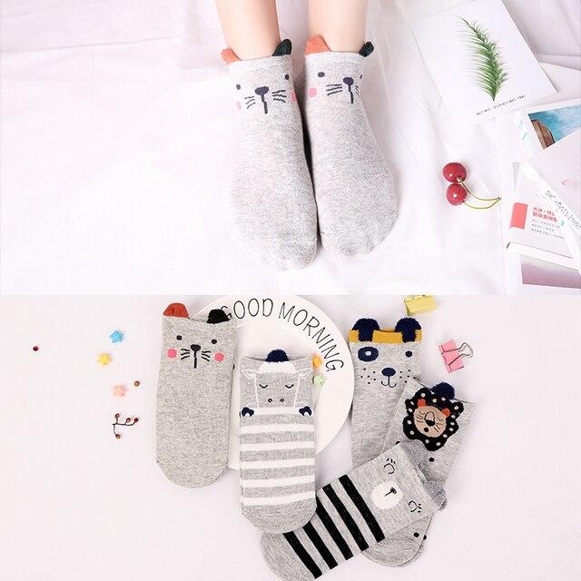 5Pairs New Arrivl Women Cotton Socks Pink Cute Cat Ankle Socks Short  Socks Casual Animal Ear Red Heart Gril Socks 35-40 4
