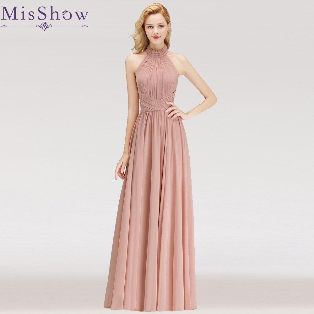 32 colors Cheap Long Chiffon Halter pink   Bridesmaid     Dresses   2019 A-Line Vestido De Festa De Casamen Formal Party Prom   Dresses