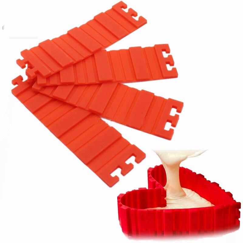 4 unids / set Molde de Pastel Magia Roja Pan de Serpiente Pan Cuadrado Rectangular de Silicona Para Hornear DIY Corazón Redondo Herramientas de cocina Accesorios