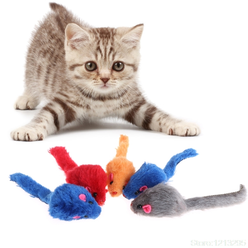 5 Pcs Cat Toys False Mouse Plush Soft Colorful Kitten Pets Funny Squeaky Playing Random delivery W210