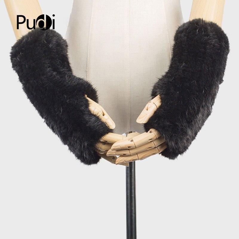 Men's Gloves Pudi Gf705 Hand Made Knitted Winter Fur Fabric Real Rabbit Fur Glove Gloves Mittens Mit Handwear