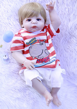 57cm Alive Reborn Dolls 23'' Full Body Silicone Vinyl Reborn Baby Doll Boy Toys For Kids Gifts Kids Playmates with blue eyes