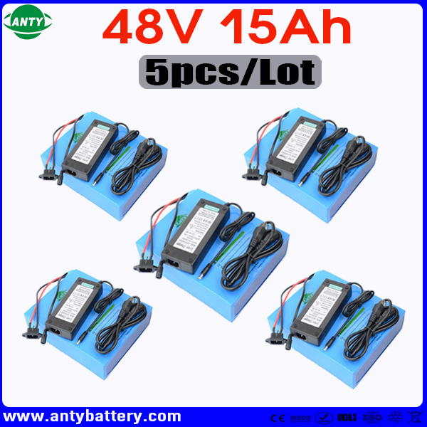 Wholesale 5pcs/Lot Battery 48v 15ah 1440w Lithium eBike Battery Built in 30A BMS with 5pcs Charger Electric Bicycle Battery 48v