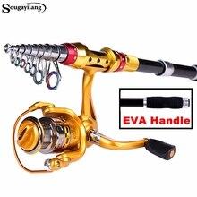Sougayilang 2.1/2.4/2.7/3.0M Telescopic Fishing Rod and 13+1BB Spinning Fishing Reel Carp Fishing Spinning Rod and Reel Combo