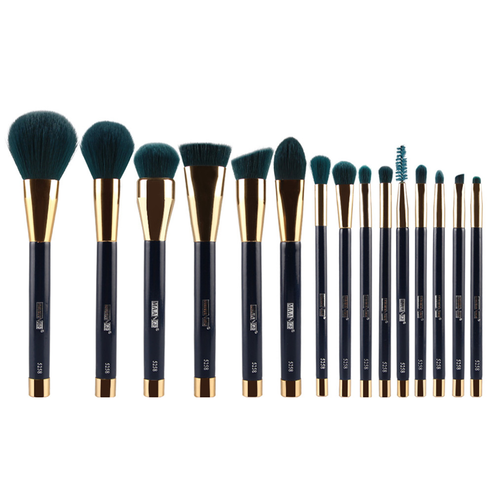 HTHL-MAANGE 15pcs Makeup Brushes Set Powder Foundation Eyeshadow Eyeliner Lip Contour Concealer Smudge Brush Tool(dark green) 2017 new20pcs foundation eyeshadow eyeliner lip brush tool makeup brushes set powder new