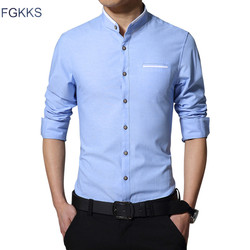 Fgkks new fashion casual men shirt long sleeve mandarin collar slim fit shirt men korean business.jpg 250x250