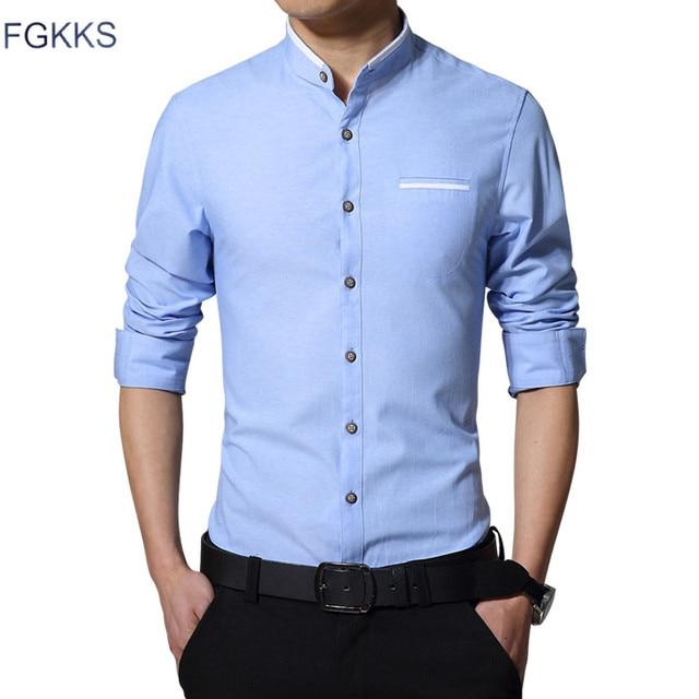 750368c87b4d FGKKS New Fashion Casual Men Shirt Long Sleeve Mandarin Collar Slim Fit  Shirt Men Korean Business Mens Dress Shirts Men Clothes