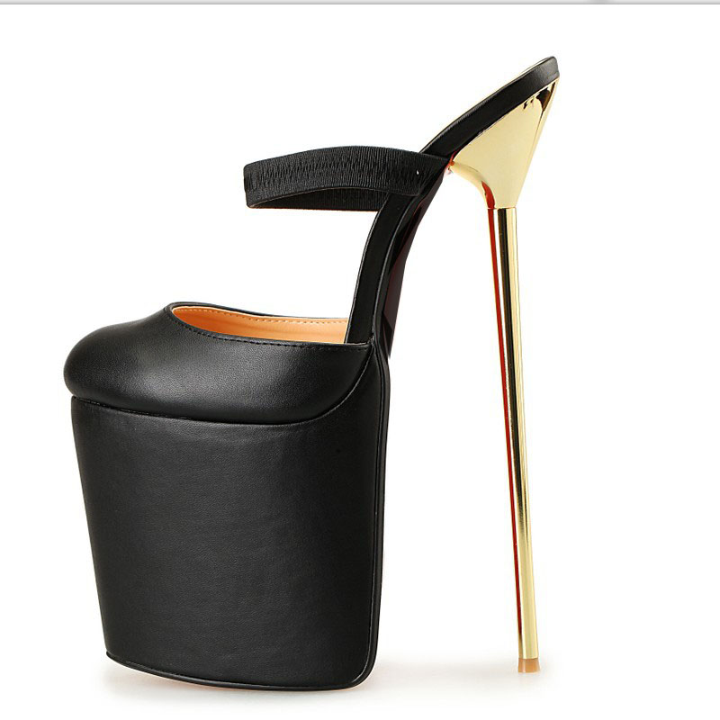 22cm High Heel Leather Women Sandals Round Toe Platform Sexy Lady Pumps Metal Stiletto Summer Women Party Club Shoes Size 40-50 shinny patent leather high platform stiletto buckle strap women sandals party dress nude black lady pumps high heel dress shoes