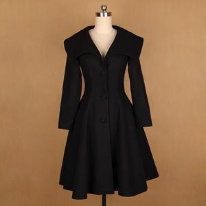 3c7b0849809 40- winter women vintage 50s ong sleeve v neck swing rockabilly wool coat  in black plus size abrigos bayan kaban casaco feminino