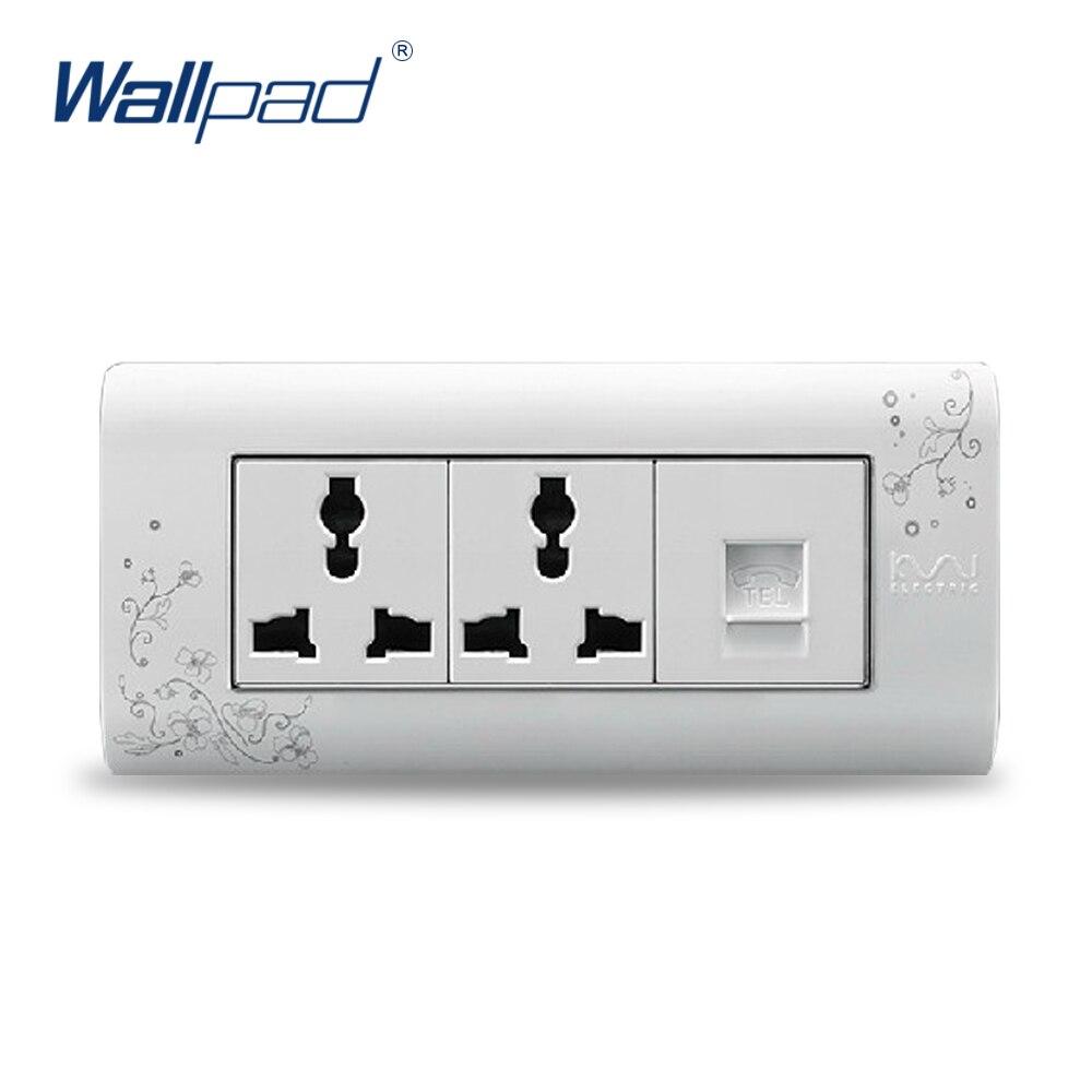 2018 Hot Sale TEL 6 Pin Socket Wallpad Luxury Wall Switch Panel Plug Socket 154*72mm 10A 110~250V