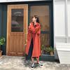 Kobiety 2019 wiosna i jesień moda marka Korea styl w stylu Vintage luźne długi wykop kobiet na co dzień Khaki czerwony trencz tkaniny