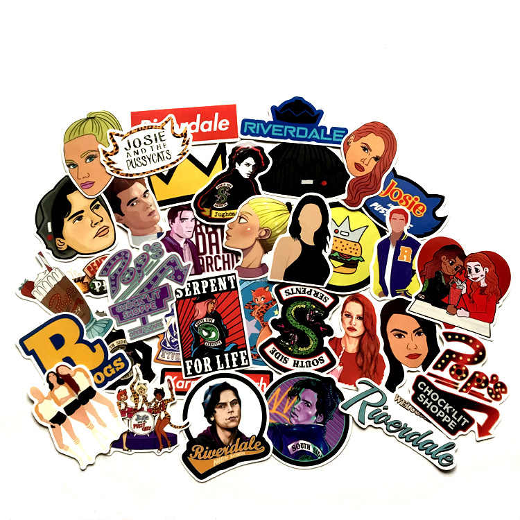 34 Pcs/set riverdale Stickers for Laptop Skateboard Home Decoration Car Styling Vinyl Decals Doodle Cool DIY works