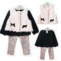 Spring Fall Baby Girl Clothing Set 3 PCS Cotton Sets Plush Vest +T-shirt+Leggings Bebe Casual Leopard Floral Lace Infant Clothes