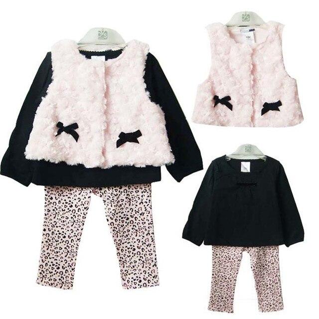 c03d7de5172f Spring Fall Baby Girl Clothing Set 3 PCS Cotton Sets Plush Vest +T ...