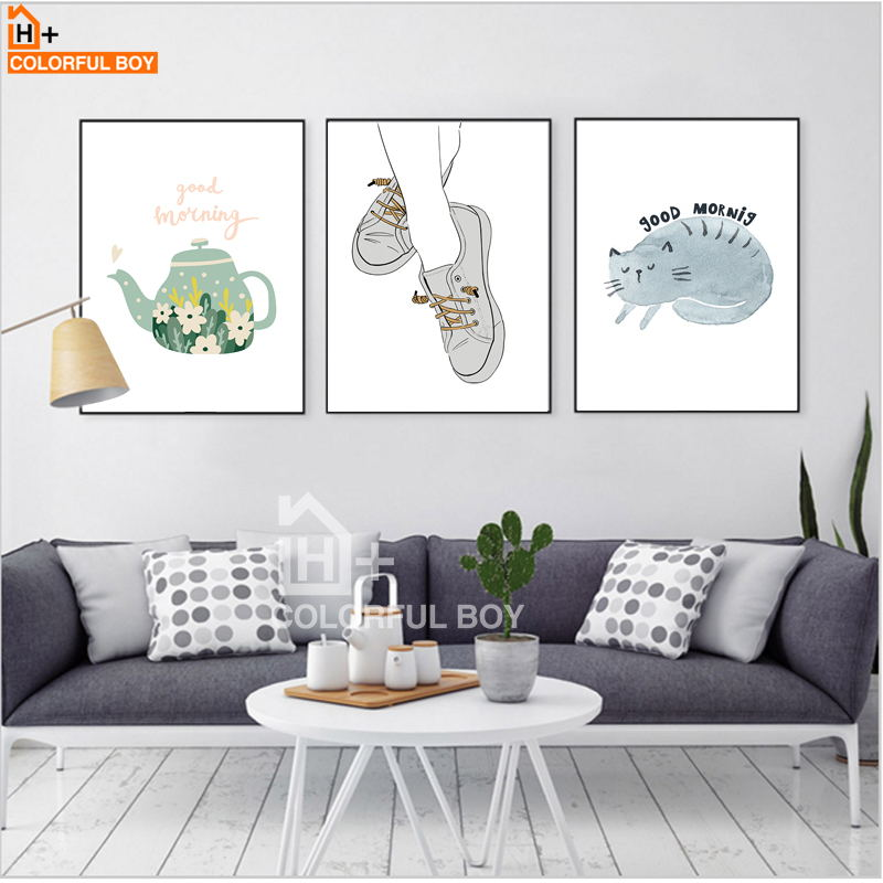 COLORFULBOY Canvas Painting Modern Minimalist Good Morning Quotes Print Poster Tea Cat Wall Pictures For Living Room Home Decor