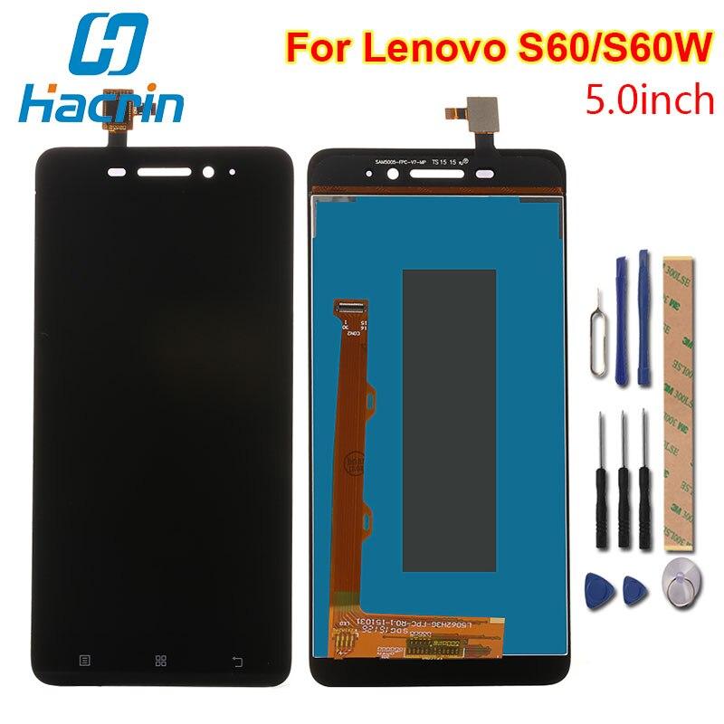 Hacrin Für Lenovo S60 LCD Display + Touchscreen 100% Neue Digitizer Glasscheibe Für Lenovo S60W 1280X720 HD 5,0 ''Telefon Freies Shipp