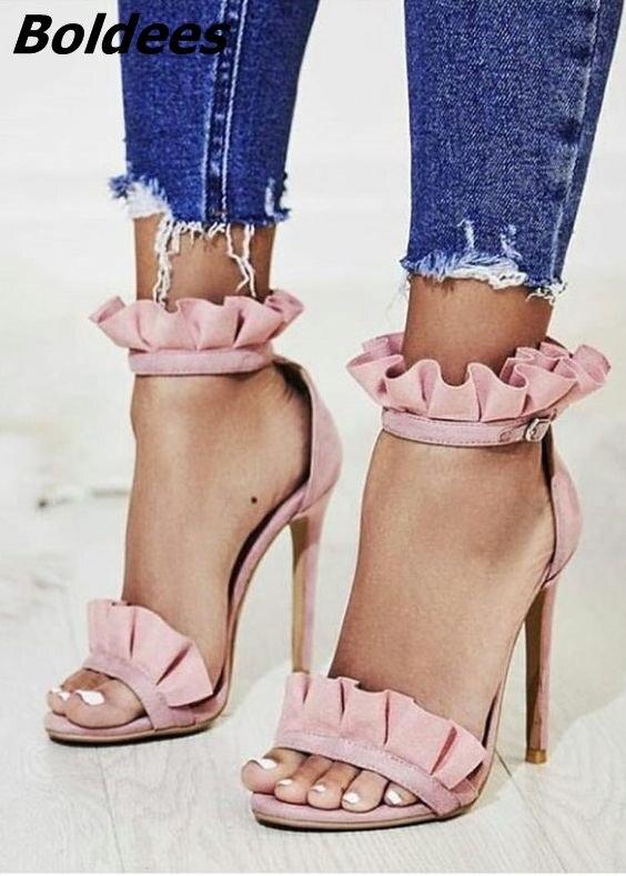 New Arrival Trendy Design Pink Thin Heel Sandals Fancy Women Ruffle Buckle Stiletto Heel Dress Sandals Sweet Date Shoes trendy style stiletto heel and double buckle design women s sandals