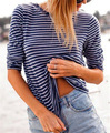 77Fang brand spring autumn fashion high quality oversize linen knitted blue striped basic long sleeve thin tees t-shirt