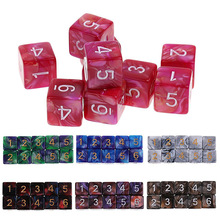 Mayitr 10PCS / Set Colorful D6 Dungeons Dragones Juego de dados Acrílico Polyhedral 6 caras Drink Digital Dice Game Entertainment