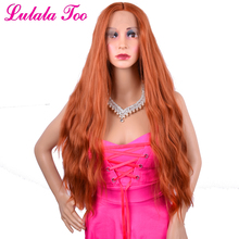 30 inch Copper Red Long Wavy Synthetic Lace Front Wig Heat Resistant Glueless Orange Auburn Natural Hair Wig For Women Lulalatoo free shipping glueless synthetic lace front wig 150% density body wavy hair heat resistant 4 quality fiber wig for black women