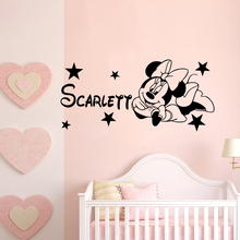 Lovely Minnie Mouse Wall Decal Personalised Any Name Vinyl Sticker Girls Room Decor Removable Art AY1561