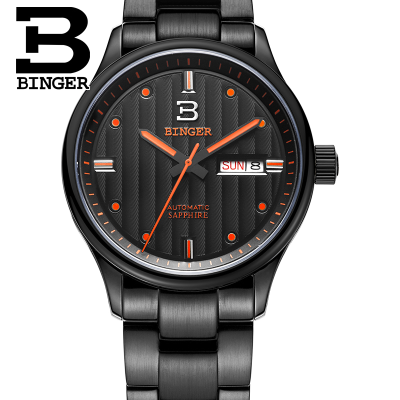 Genuine Switzerland BINGER Brand Men watch full steel automatic mechanical fashion sapphire calendar waterproof free shipping genuine switzerland binger brand men automatic mechanical luminous calendar waterproof sports chronograph military gold watch