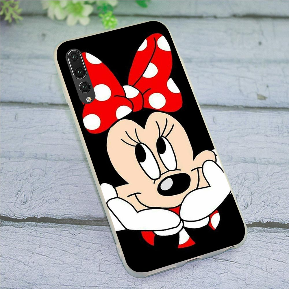 Soft TPU Cover for Huawei P8 Lite 2015 Minnie Mouse Cute Girls Phone Case for P9 P10 P20 P30 P Smart 2018 2019 Mate 10 20 Pro