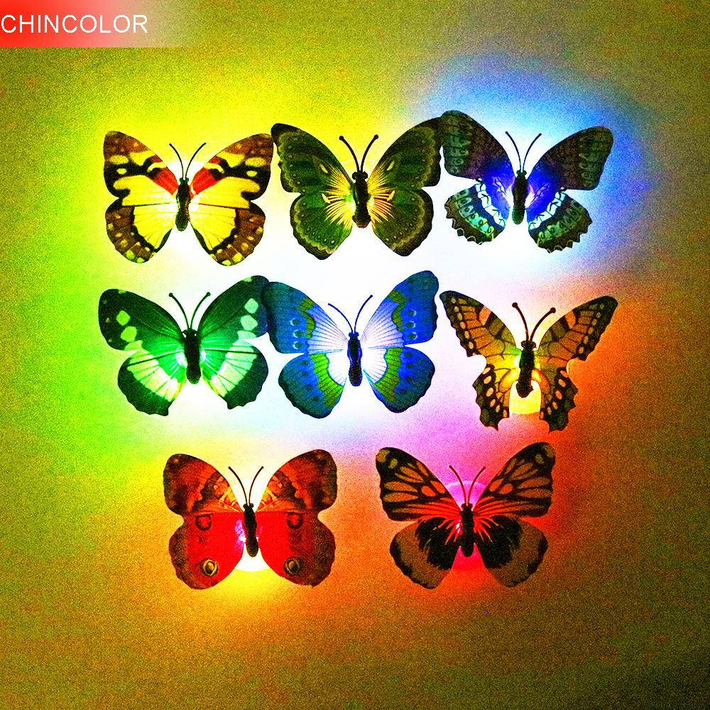 2PCS/lot Butterfly Night Light Wall Stickers Can Glow Random Color With Retail Box For Home Decoration Living Room CF