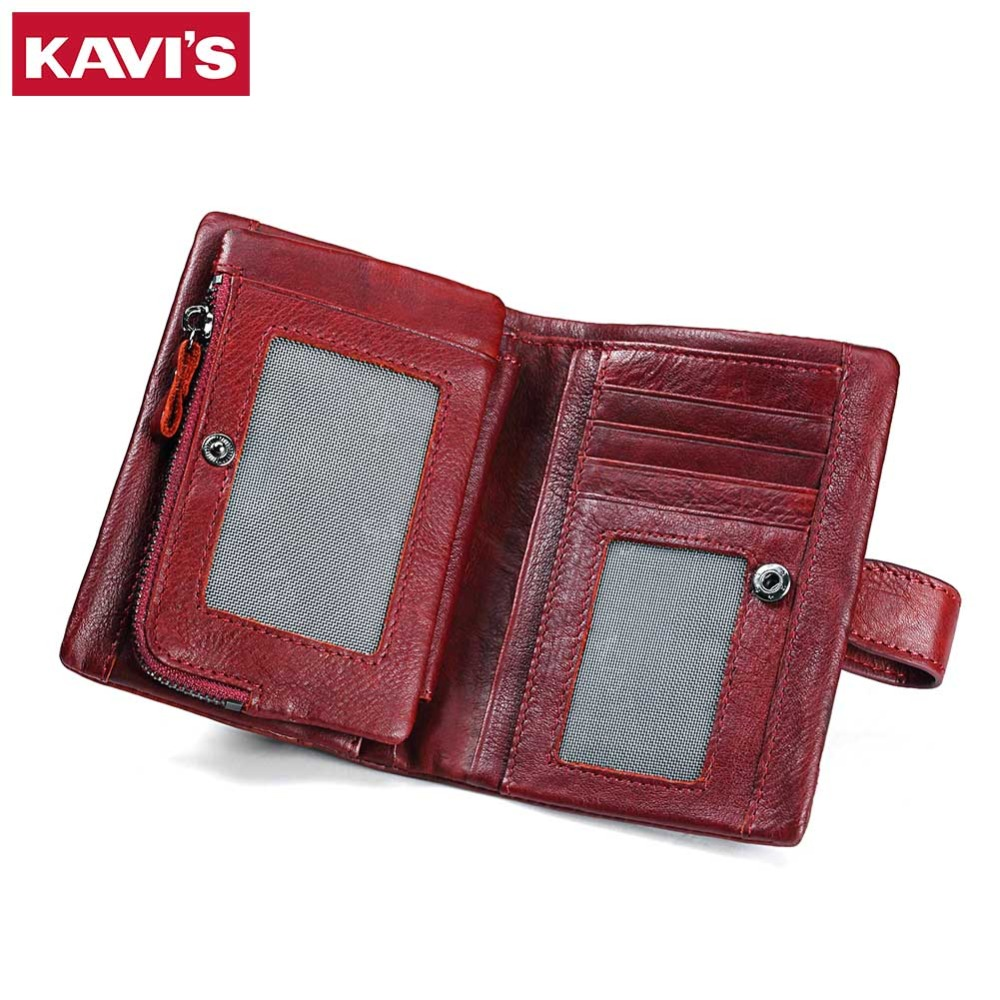 KAVIS Luxury Brand 2017 New Coin Purse Genuine Leather Women Wallet Portomonee Walet Money Bag For Perse Lady Female And Red