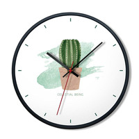 Modern Minimalist Green Plants Wall Advanced European Artistic Exquisite Metal Mute Wall Clock for Home Decoration