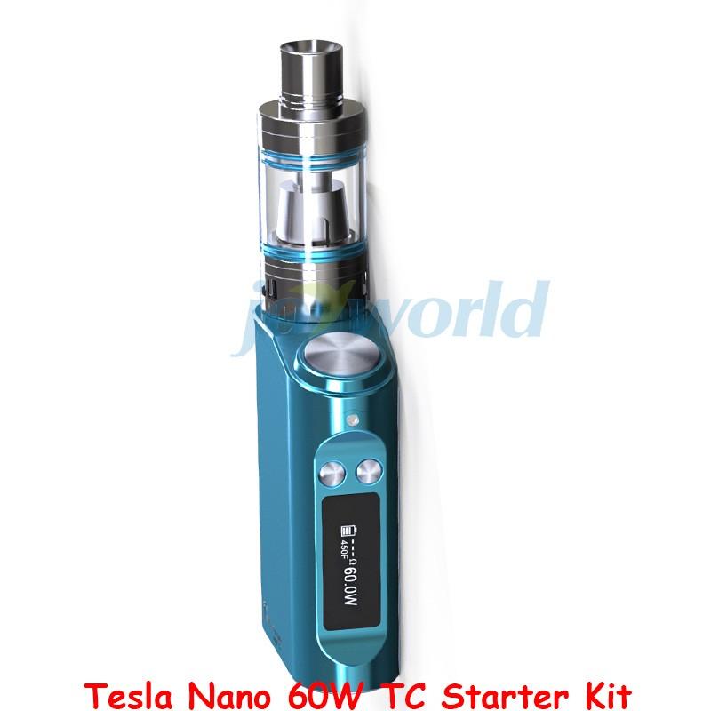 100% Authentic Tesla Nano 60W TC Box Mod Starter Kit 3600mah Battery Vapor Mod with Tornado Sub Ohm Tank vs kanger evod mega YY (4)