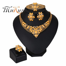 2019 NEW  Nigerian Wedding Bridal African Gold Color Jewelry Set Dubai Imitated Crystal Necklace Bracelet Earrings Ring Sets цена
