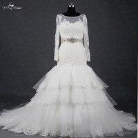 Rsw1380 yiaibridal реальной работы съемный атласная Кристалл ремень Асимметричный Тюль юбка с оборками Русалка свадебное платье с рукавами