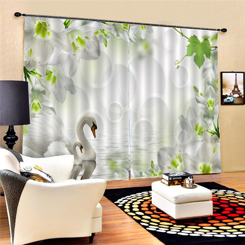 White Swan Curtains Modern 3D HD Lifelike Blackout Curtain Decoration Photo Curtain Printing Drapes Window For Living Room Oct25