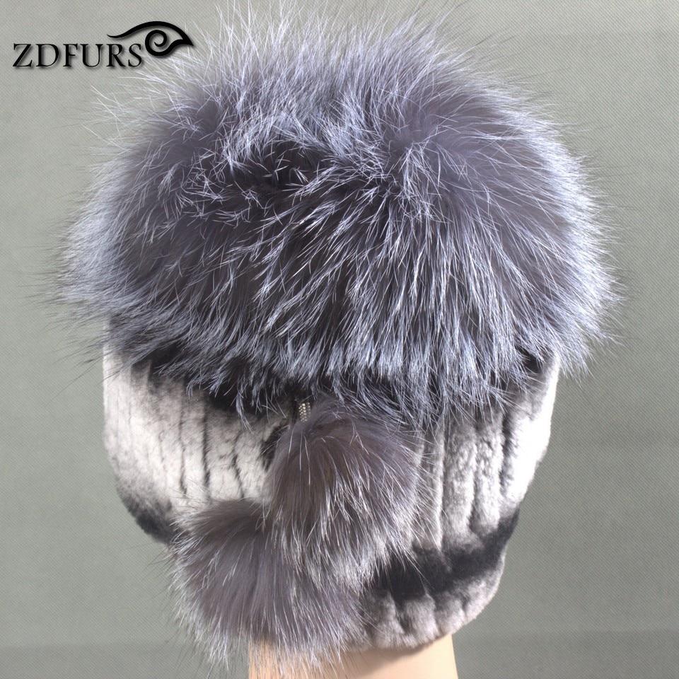 Glaforny 2017 New Women Rex Rabbit Fur Hats with Silver Fox Fur Top - Apparel Accessories - Photo 3