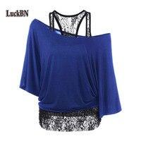 2018 Camisas de T das Mulheres de Verão 2 pcs Define Solto Colete de Renda costura bolsa de Ombro Inclinado Manga Morcego T-shirt Azul Plus Size Tops 5XL