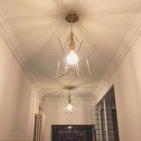 Nordic style simple dining room small chandelier hallway porch star light retro balcony window brass chandelier