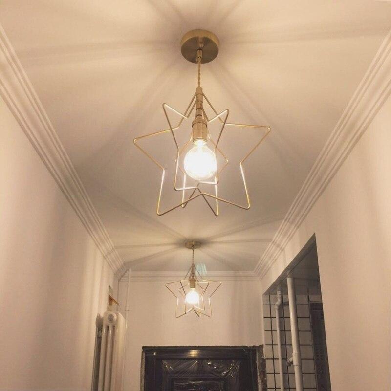 Style nordique simple salle à manger petit lustre couloir porche étoile lumière rétro balcon fenêtre laiton lustre