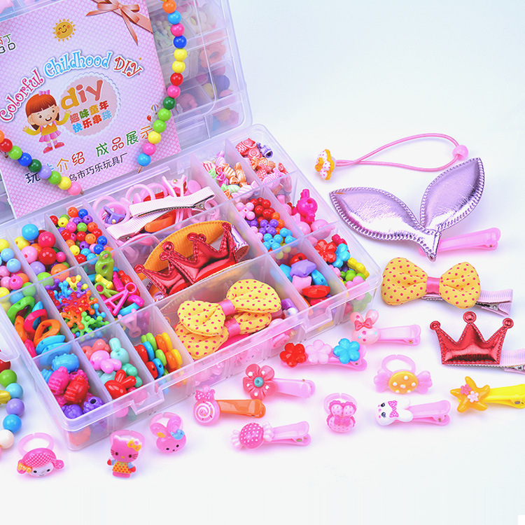 450pcs/set Plastic Bead Kit Accessories DIY Toy Jewelry Cartoon Hairpin Handmade Beads Creative Children Birthday Gifts for Girl
