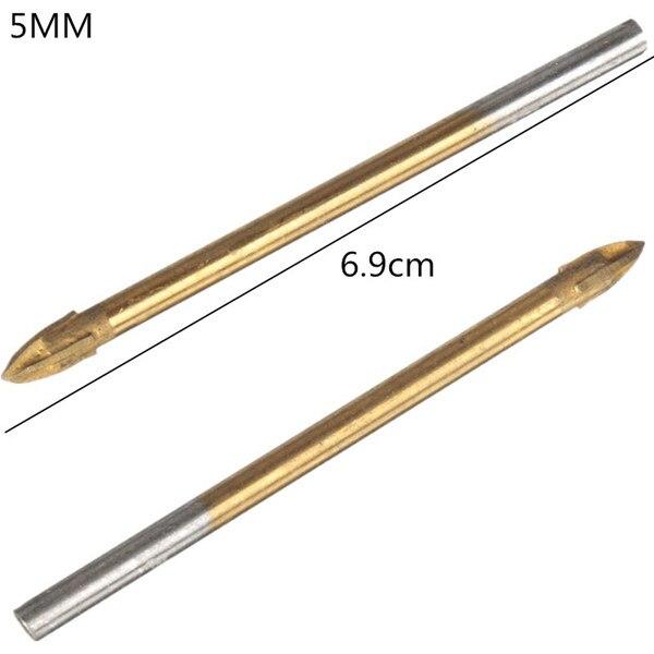 цена на Sale Ferramentas Marcenaria Tool Taladro 5mm Titanium Carbide Glass Drill Bit Cross Spear Point Head For Wall Ceramic Tile