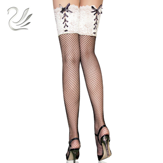 849c35a6ab1 BEILEISI Sexy Lycra Fishnet Thigh High Lace Up Top Over The Knee Socks  Hosiery Pantyhose Fish Net Stockings for Women s Lingerie