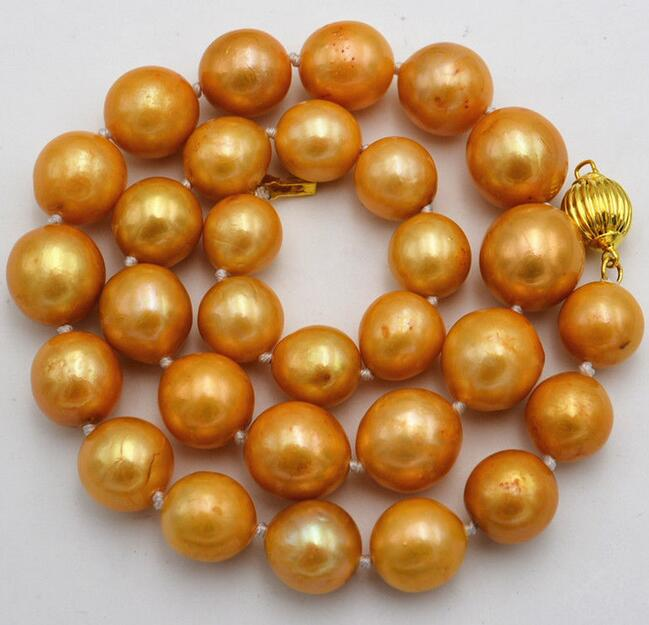 NEW GORGEOUS HUGE 13-15MM ROUND GOLD PEARL NECKLACE 18INCHNEW GORGEOUS HUGE 13-15MM ROUND GOLD PEARL NECKLACE 18INCH