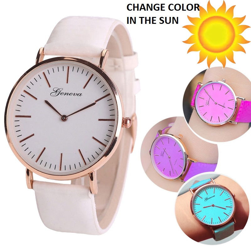 Gnova Platinum Sun Watch Geneva Style Solar light Change Color White Fashion Quartz women wristwatch analog vintage clock A971 analog watch