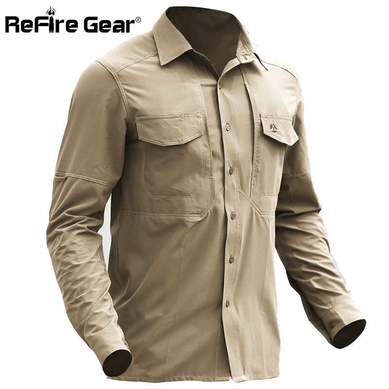ReFire Gear Lightweight Military Shirt Men Breathable Quick Dry Army Tactical Shirt Spring Summer Stretch Multi Pockets Shirts-in Casual Shirts from Men's Clothing