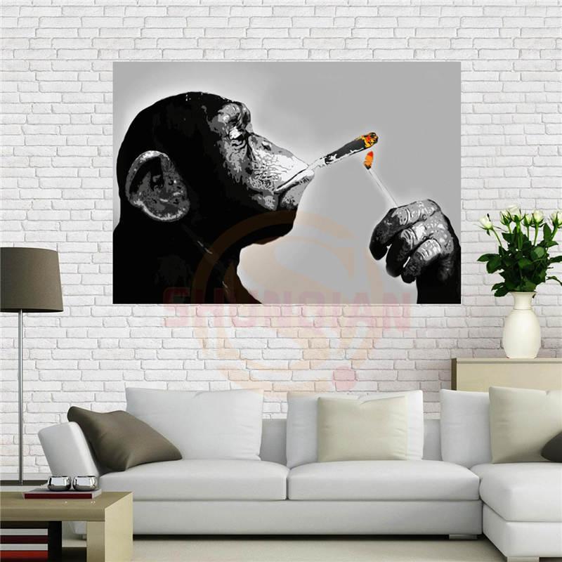 Canvas affiche Steez Singe Fumeur Affiche 40x60 cm Décoration de La Maison tissu tissu mur affiche impression Tissu De Soie