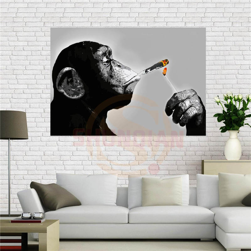 Custom Canvas Poster Steez Monkey Smoking Poster 40x60 Cm Home Decoration Cloth Fabric Wall Poster Print Silk Fabric